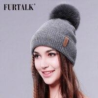 FURTALK Real Fur Hat Big Raccoon Pom Pom Hat Cashmere Wool Fox Pom Bobble Hat Winter