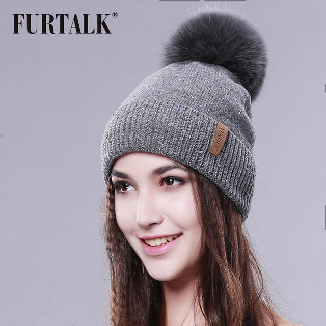 Online Shop FURTALK Real Fur Hat Big Fox Pom Pom Hat Wool Fox Pom bobble hat  Winter hat  adccef55ccc