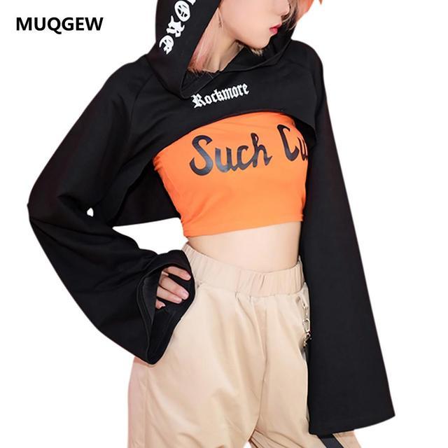 1ce75255699 Women Plus Size Sweatshirt Hooded Kpop Crop Autumn Letter Flare Blackpink  tops Hooded women Loose Dance
