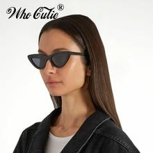 WHO CUTIE 2018 Brand Designer Black Cat Eye Sunglasses Women Cool Small Cateye Frame Sun Glasses Fashion UV400 Shades WG-008