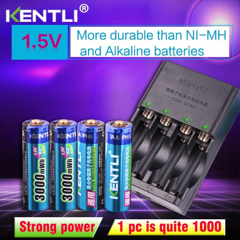 KENTLI 4pcs 1.5v Aa 3000mWh  Rechargeable Li-ion Li-polymer Lithium Battery + 4 Slots AA AAA Lithium Li-ion Smart Charger