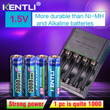 цена на KENTLI 4pcs 1.5v aa 3000mWh  Rechargeable Li-ion Li-polymer Lithium battery + 4 slots AA AAA lithium li-ion Smart Charger