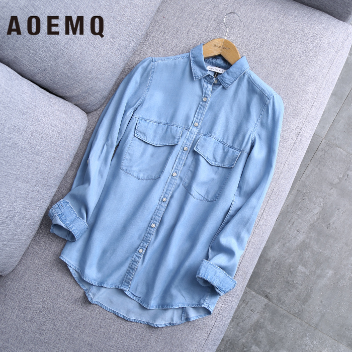 AOEMQ New Plus Size Spring Fall Shirts Blouse Denim Blue Casual Sport Style Shirt with Button Coat Use Women Tops Clothing(China)