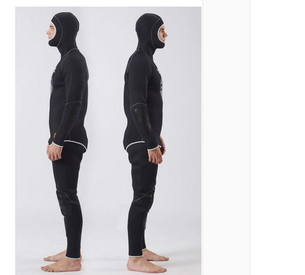 SLINX 5MM Two-piece Diving Suit Long Sleeve Mergulho Full Body Warmth Sunblock Surf Wetsuit with Headgear Mens Sportswear 1301