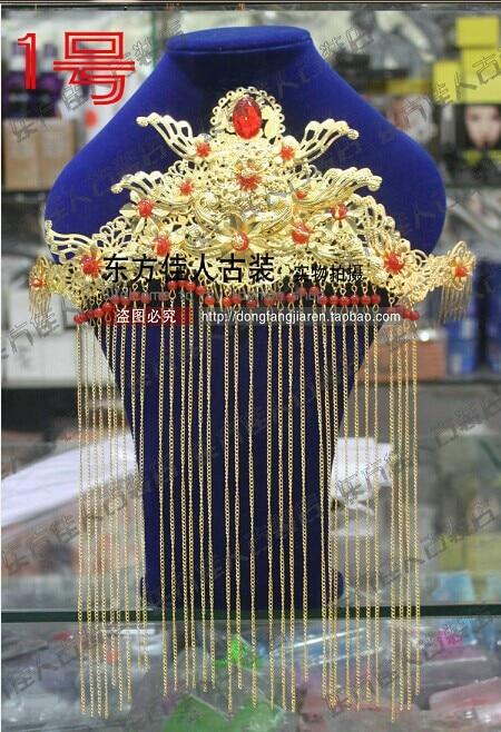 Chinese Wedding Bride Hair Tiaras 00009 red gold bride wedding hair tiaras ancient chinese empress hair piece