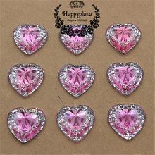 50pcs 14mm Shiny Resin Rhinestone Pink Heart Flatback Scrapbooking for  Phone Wedding Decoration Craft 932a6089541d