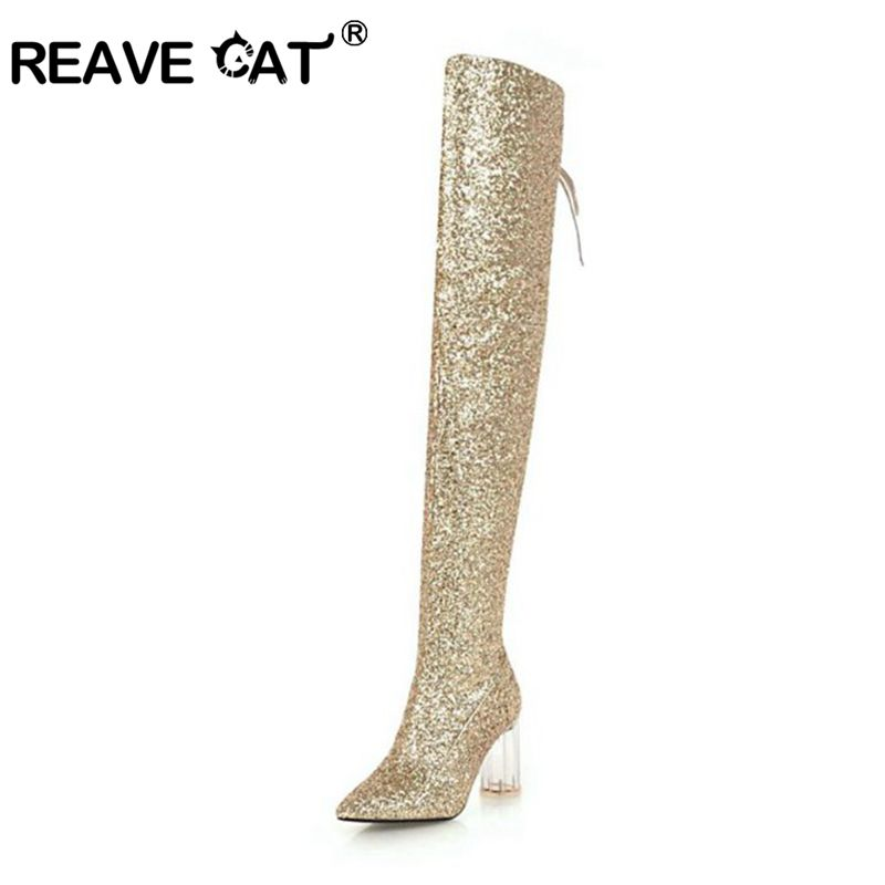 Femmes Feminino black Cuissardes Clair D'hiver Jusqu'à gold A1406 Fur Chaussures Reave Velvet silver Velvet Talon Fur Bottes Genou Botas gold Solide Automne White black Dentelle Fur red Fur Le white Velvet Sur Chat Velvet OIqWRa