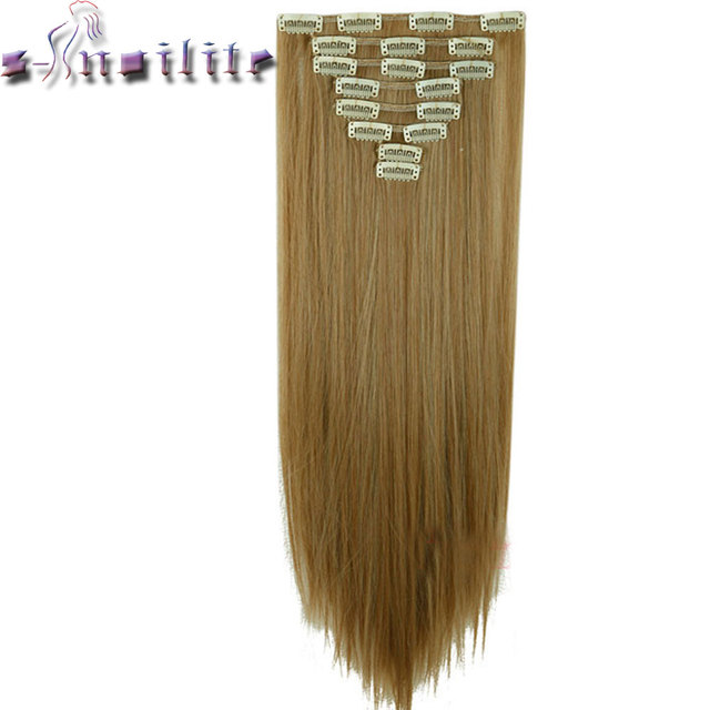 S Noilite 8pcs Long 24 Inches Striaght Real Thick Full Head Clip In