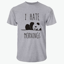 LUSLOS  Weekend Panda Tees I Hate Mornings Printing T-SHIRT Casual Mens Short Sleeve