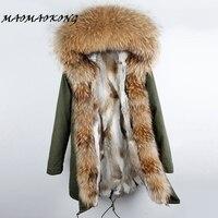 Natural Real Fur Rex Rabbit Parka Camouflage Long Hooded Winter Coat 2017 Women Winter Jacket Natural