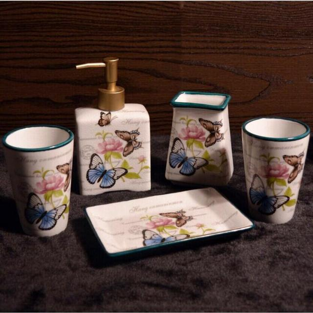 crackle bathroom accessories. Crackle Porcelain Sweet Butterflies Tooth Mug Soap Dish Dishpenser  Brush Holder Bathroom Accessories Set