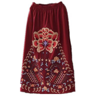 Chinese Style Floral Embroidery Long Vintage Skirt Women S Clothing Linen With Pocket Big Flower Pattern