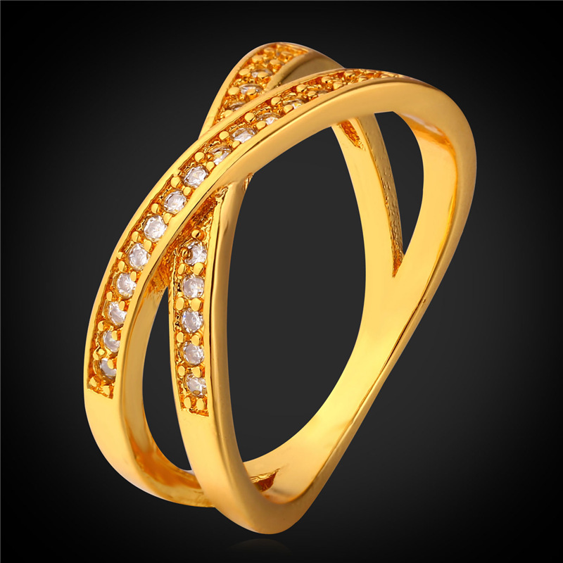 Yellow Gold Color Rings For Men Women Fashion Jewelry With Gift Box Wholesale Intersect Zirconia Ring R1703