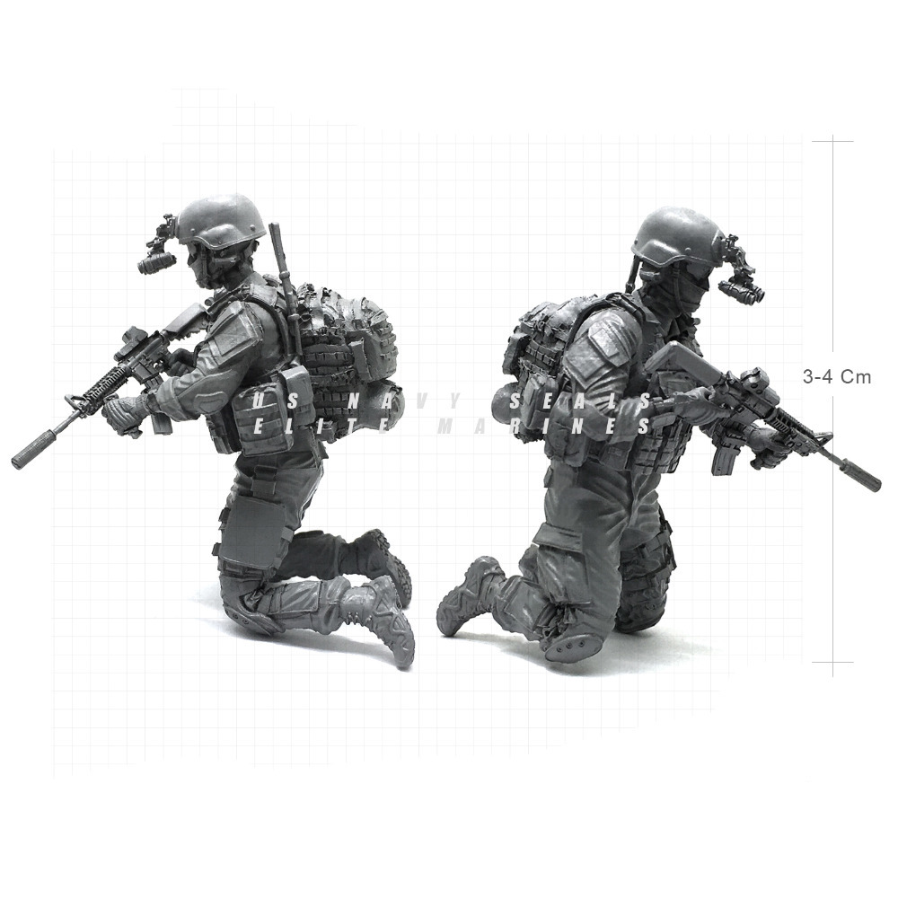 1/35 Modern U.S Navy Seals Elite Marines Sharpshooter 2 Military Soldier Resin Model Figure NAI-09
