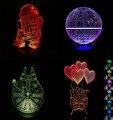 7 Mudança de Cor Visual LED Nightlight Natal 3D escudo guerra Estrela USB Toque kid/crianças sala de estar/quarto mesa/Presentes de mesa Lampara