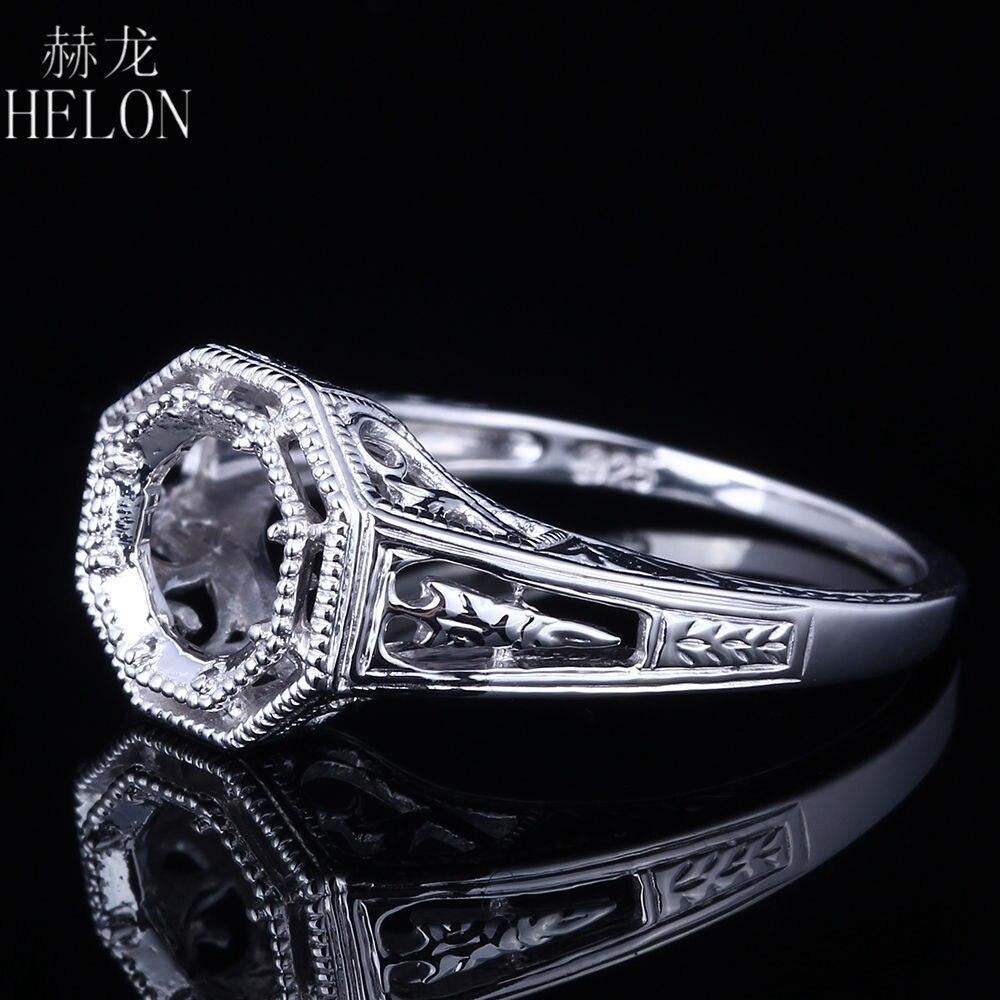 HELON 5.5-6.5mm Round Semi Mount Art Nouveau Fine Jewelry Sterling Silver 925 Engagement Engrave Filigree Fancy Ring wholesale серьги art silver art silver ar004dwzmh30