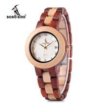 BOBO VOGEL 2017 Neueste zweifarbige Holz Uhr für Frauen Marke Design Quarz-uhren in Holz Box Akzeptieren Anpassen
