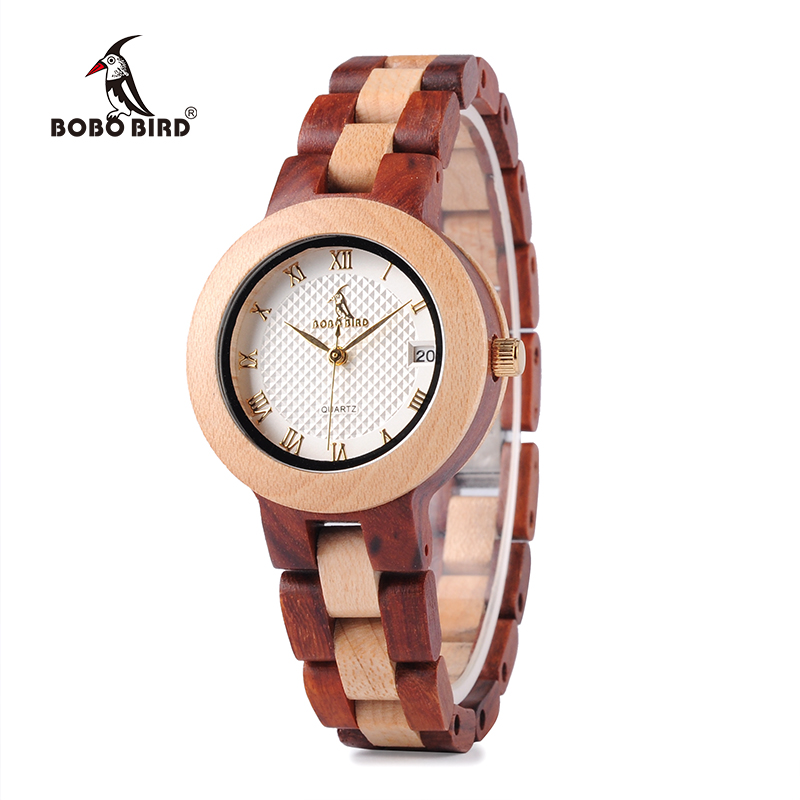 BOBO BIRD To-tone Timepieces Wooden Watch for Women Brand Design Quartz Lady Watches i Wood Box Accept Tilpas