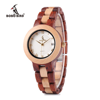 BOBO BIRD 2017 Newest Two Tone Wooden Watch For Women Brand Design Quartz Watches In Wood