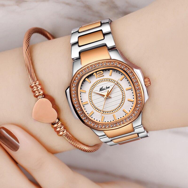 Image 5 - MISSFOX montre en or Rose femmes montres à Quartz haut pour femme marque de luxe en acier inoxydable femme montre bracelet fille horloge dorée heuresMontres femme   -