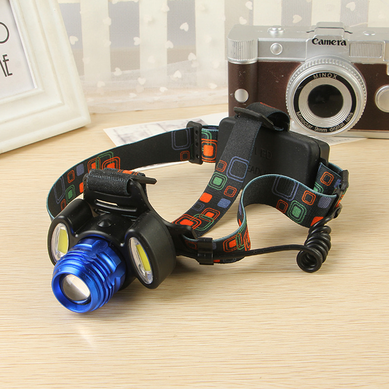 8000lm T6 + 2 * COB Cahaya Headlamp zoomable Biru Waterproof - Pencahayaan portabel