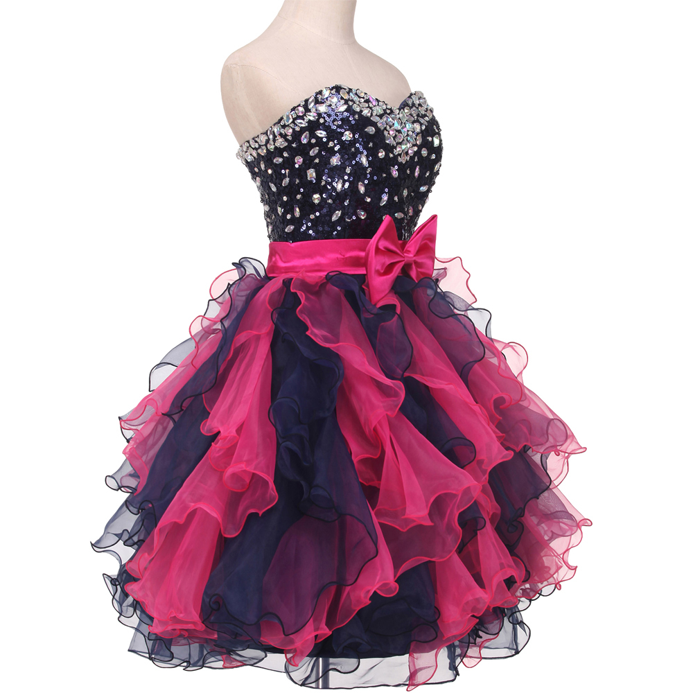Color Mixed Knee Length Ball Gown Homecoming Dresses Sexy Ajax 2017 Sparkly  Beaded Short Cute 8th Grade Graduation Gowns Custom-in Homecoming Dresses  from ... 3f5c50182959