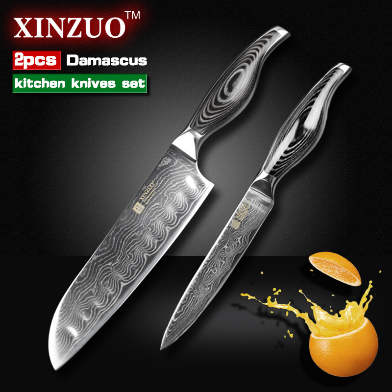 2 pcs kitchen font b knives b font Japanese VG10 Damascus steel kitchen font b knives