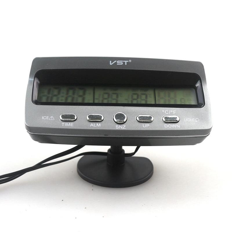 c384191fd62 Alarme Termômetro Relógio carro Voltímetro Temperatura Interior e Exterior  Automotivo Medidor de Monitor de Tensão Relógio Calendário VST7045V em ...