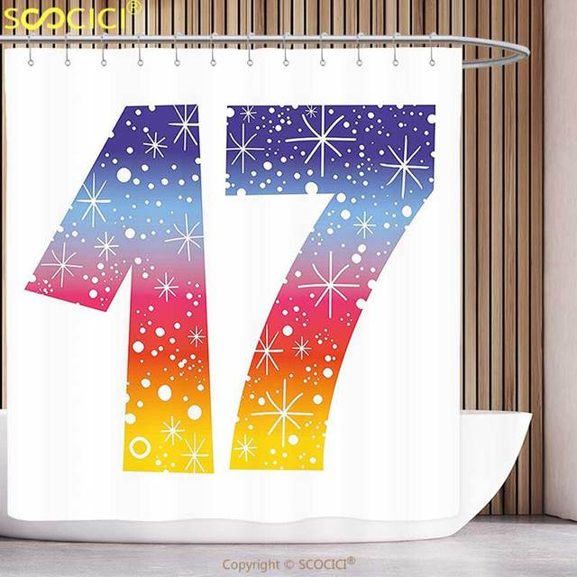 Polyester Shower Curtain 17th Birthday Decorations Rainbow Colored Seventeen Party With Fireworks Polka Dots Print Multicolor