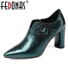 FEDONAS موضة 2019 مضخات النساء جلد طبيعي عالية الكعب أحذية حفلات الزفاف امرأة أشار تو الربيع الخريف مكتب مضخات