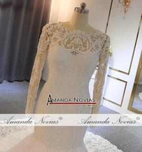 Image 4 - חתונה אלגנטית שמלה עם שרוולים ארוכים בת ים כלה שמלת כלה שמלת 2019