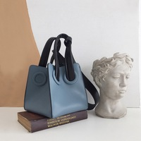 Korean Square Leather Women Box Bag Panelled Lady Purse Handbag Fashion Designer Basket Bucket Bag Girl Handle Mini Shoulder Bag
