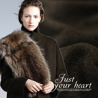 145CM Wide 540G M Weight Double Faced Dark Coffee Color Cashmere Wool Fabric For Autumn And