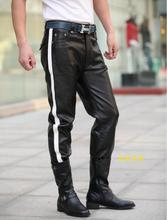 29-32 ! 2016 Men's new DJ fashion clothing male slim genuine leather cowhide leather pants trousers singer costumes