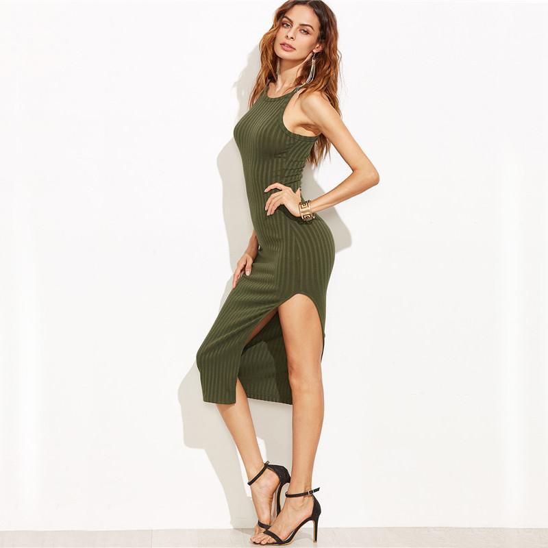 COLROVIE Women Sexy Bodycon Cami Dress Winter Autumn 2017 Women Fall Fashion New Designer Side Slit Ribbed Midi Dress 12