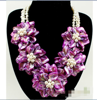 Charming purple shell white FW pearl flower necklace