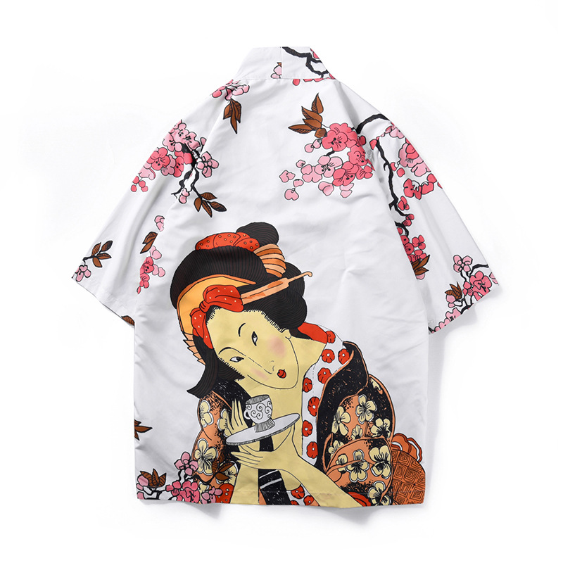 Unisex Japanese Printing Shirt 3/4 Sleeve Kimono Jacket Lovers Tide