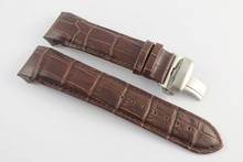 купить 24mm (Buckle 22mm) T035627A T035614 High Quality Silver Butterfly Buckle + Brown Genuine Leather Watchband belts For T035 по цене 1289.6 рублей