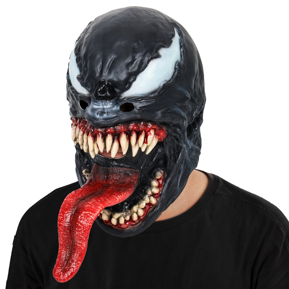 Spider-Man The Venom Mask Black & Red Cosplay SpiderMan Edward Brock Dark Superhero Venom Latex Masks Helmet Halloween Party Props
