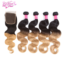 Queen Love Hair Pre-Colored Ombre Hair Weave 4 Bundles With Closure 1b/27 Mongolian Body Wave Human Hair Bundles With Closure