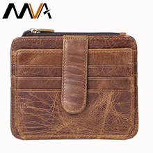 MVA Coin Purse Men Mini Genuine Leather Wallet Slim Purse Brand Business id & Credit Card Holders Men Wallets Purses Small 7606(China)