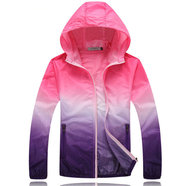 adc7f383601a 2018 Summer Sunscreen Coat Jacket Unisex Windbreaker Waterproof Thin Hooded  Zipper Quick Drying