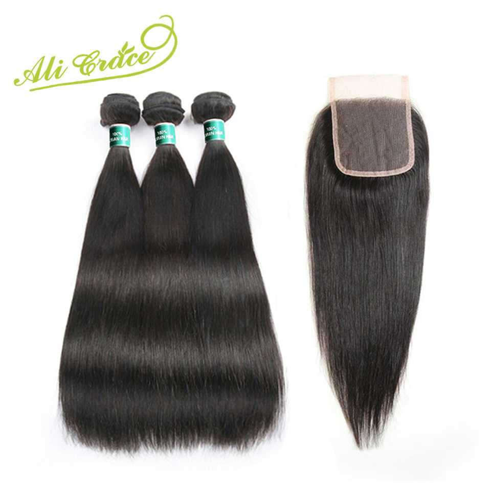 Ali Grace Hair Malaysian Silky Straight 3 Bundles Human Hair With Lace Closure 4*4 Free Middle Part Natural Color Remy Hair