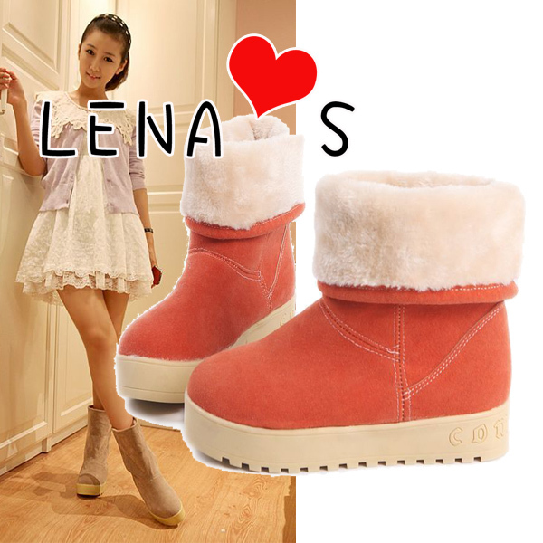 Winter sweet roll up hem snow boots platform boots thermal fur boots a2001