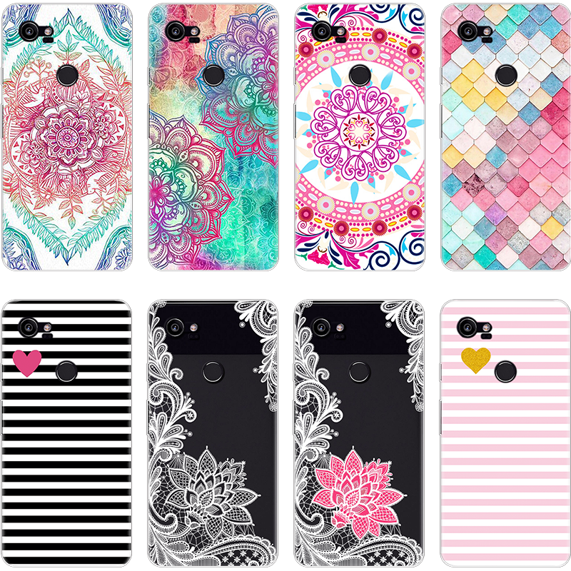 Flower Phone Case Luxury For Google Pixel 2 XL Fundas Cover Ultra Thin Soft TPU Coque For Google Pixel 2 XL Silicone Case Capa