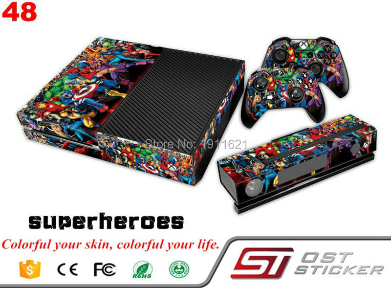 OSTSTICKER Superhero Skin Sticker Protector For Microsoft For Xbox one Console Controller Accessories Video Game
