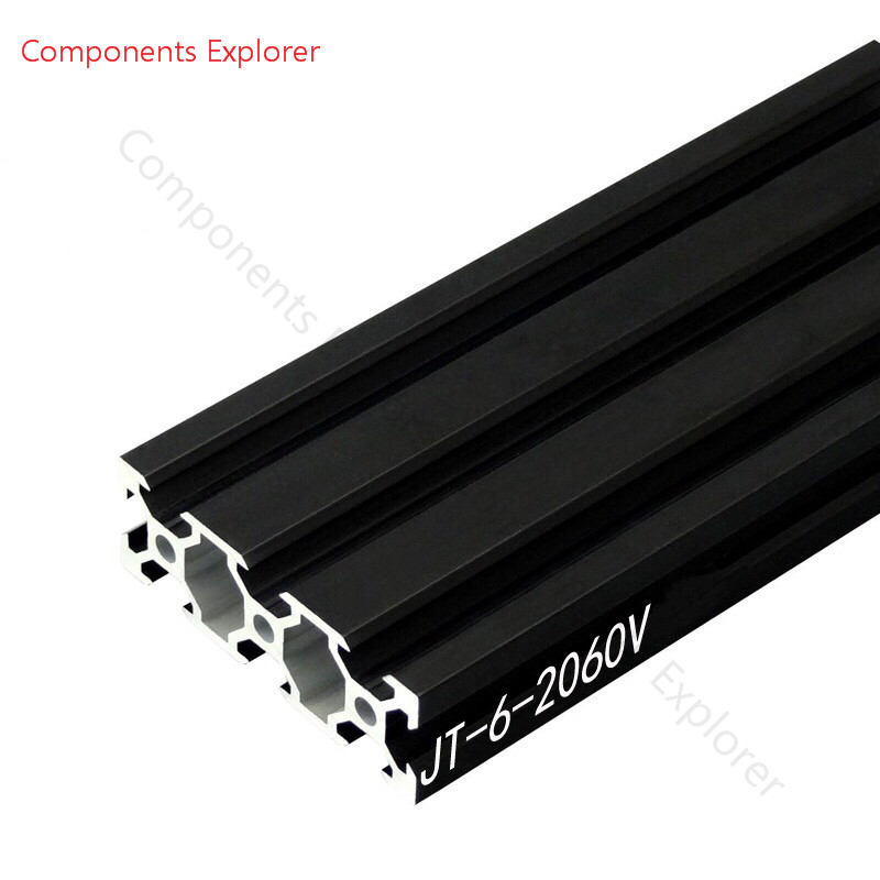 Arbitrary Cutting 1000mm 2060 V-slot Black Aluminum Extrusion Profile,Black Color.