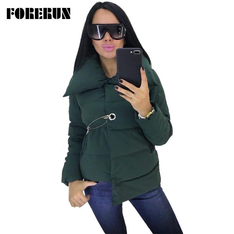 FORERUN Women Winter Jacket Fashion Asymmetric Women Coat Pin Winter Cotton Padded Puffer Jacket 4 Colors Parka Femme Hiver Куртка