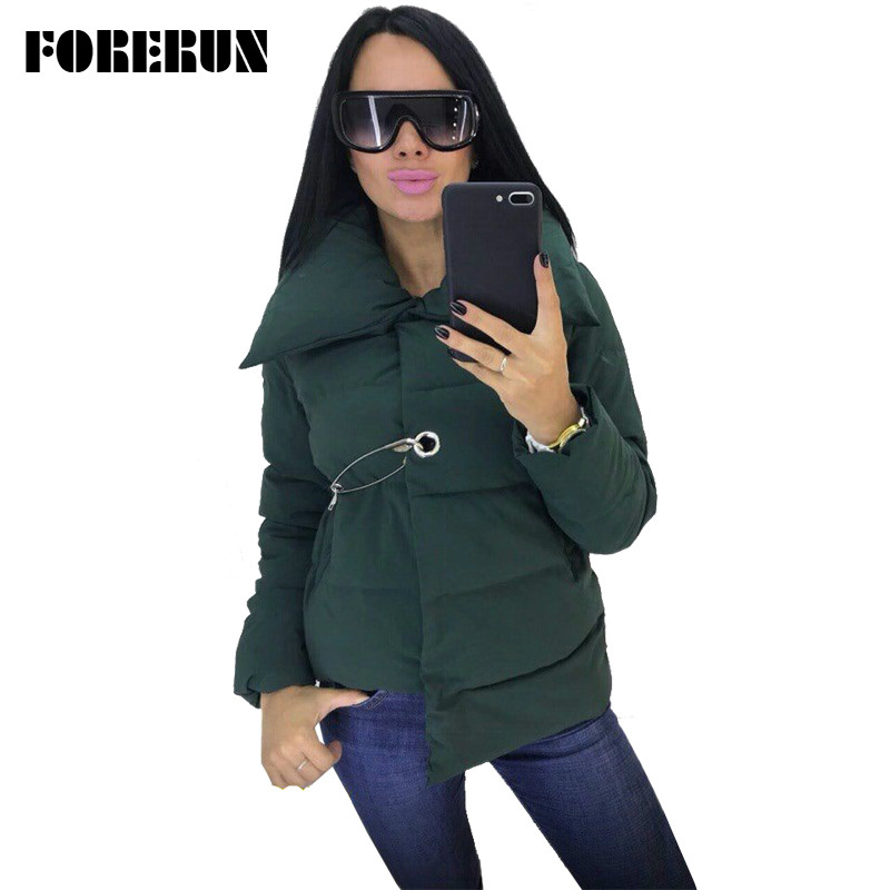 FORERUN Women Winter Jacket Fashion Asymmetric Women Coat Pin Winter Cotton Padded Puffer Jacket 4 Colors   Parka   Femme Hiver