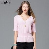 Egliy新しい夏固体ニットシャツvネック女性服半袖セクシーな女性tシャツ薄い編みシャツトップス